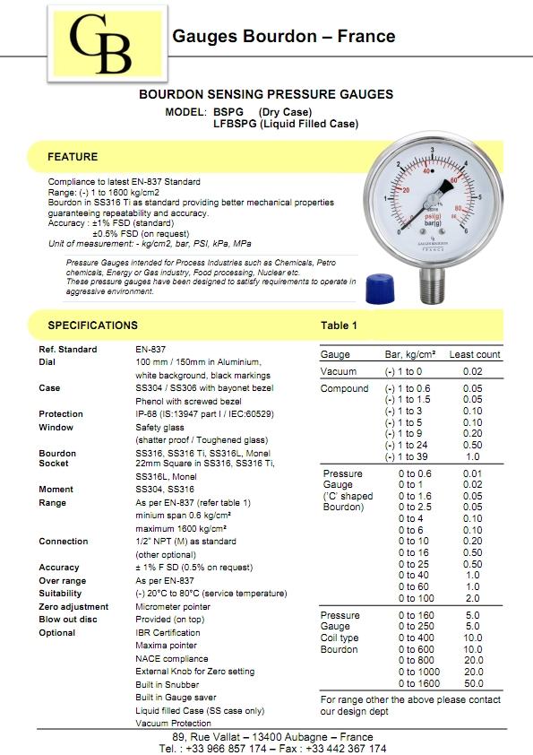 Thông số kĩ thuật của đồng hồ đo áp suất gb