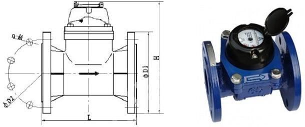 Bản vẽ chi tiết cấu tạo đồng hồ nước thải ems nối bích