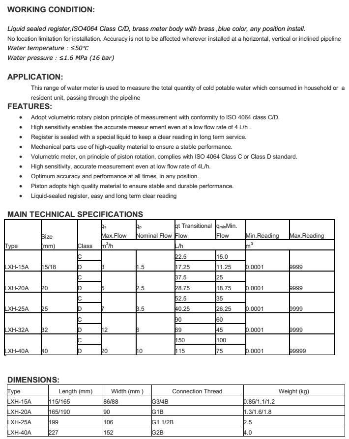 Thông số kỹ thuật của đồng hồ đo lưu lượng nước sạch ems dạng piston nối ren LXH-15a~40a