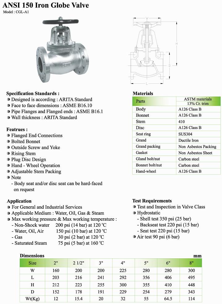 Thông số kỹ thuật van cầu gang thép Arita Ansi 150 FE model CGL-A1